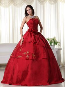 Wine Red Layered Taffeta Embroidery Sweet 15 Dresses in Antrim