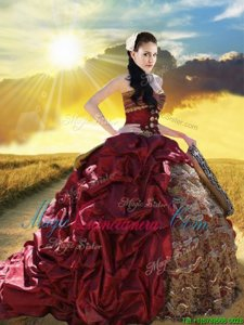 Fancy Sweetheart Sleeveless 15 Quinceanera Dress With Train Court Train Beading and Ruffled Layers and Pick Ups Burgundy Taffeta and Lace