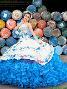 Halter Top Sleeveless Organza Quinceanera Dresses Appliques and Embroidery and Ruffles Lace Up