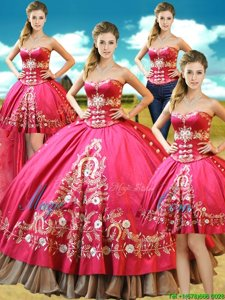 Romantic Four Piece Hot Pink Sleeveless Floor Length Beading and Embroidery Lace Up Sweet 16 Dress