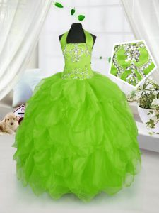 Floor Length Pageant Dress for Teens Halter Top Sleeveless Lace Up