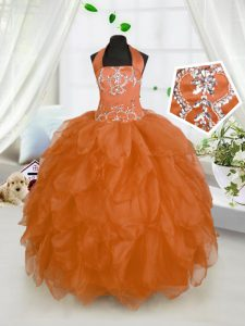 Orange Red Ball Gowns Halter Top Sleeveless Organza Floor Length Lace Up Beading and Ruffles Pageant Dress Wholesale