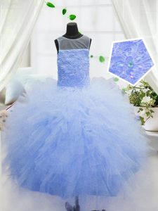 Scoop Baby Blue Sleeveless Beading and Ruffles Floor Length Kids Formal Wear