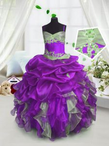 Enchanting Floor Length Lavender Pageant Dress Womens Organza Sleeveless Beading and Ruffles and Pick Ups