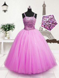 Floor Length Hot Pink Pageant Gowns For Girls Tulle Sleeveless Beading and Sequins