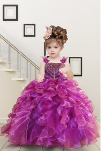 Mermaid Sleeveless Beading and Ruffles Lace Up Pageant Dresses