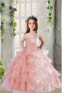 Discount Ruffled Baby Pink Sleeveless Organza Lace Up Pageant Dresses for Party and Wedding Party