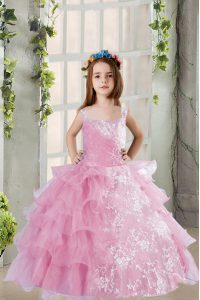 Lilac Sleeveless Lace and Ruffled Layers Floor Length Child Pageant Dress