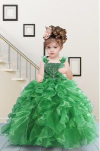 Admirable Green Lace Up Straps Beading and Ruffles Child Pageant Dress Organza Sleeveless