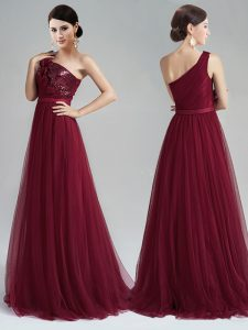 Burgundy Tulle Zipper One Shoulder Sleeveless With Train Prom Dresses Brush Train Appliques and Sequins and Belt