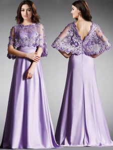 Smart Scoop Half Sleeves Homecoming Dress Floor Length Lace Lavender Satin