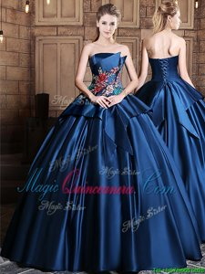 Most Popular Navy Blue Satin Lace Up Strapless Sleeveless Floor Length Ball Gown Prom Dress Appliques