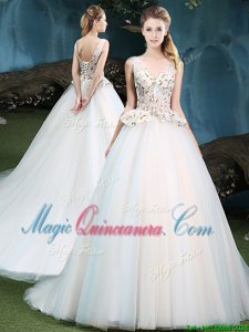 Appliques Ball Gown Prom Dress White Lace Up Sleeveless With Brush Train