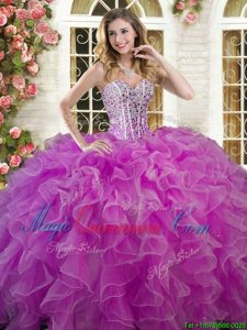 Fantastic Lilac Sleeveless Floor Length Beading and Ruffles Lace Up Quinceanera Dresses