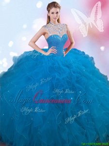Latest High-neck Sleeveless Lace Up Vestidos de Quinceanera Blue Tulle