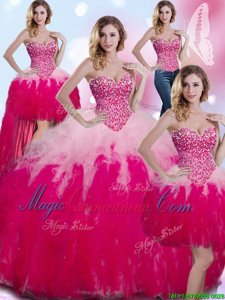 Sumptuous Four Piece Tulle Sweetheart Sleeveless Lace Up Beading and Ruffles Quinceanera Dress in Multi-color