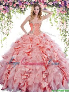 Clearance Orange Red Sleeveless Beading and Ruffles Floor Length Quinceanera Gowns