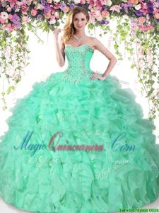 Apple Green Sleeveless Organza Lace Up Ball Gown Prom Dress for Military Ball and Sweet 16 and Quinceanera