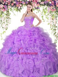 Sleeveless Organza Floor Length Lace Up 15 Quinceanera Dress in Lilac for with Beading and Ruffles