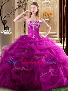 Top Selling Sleeveless Embroidery and Pick Ups Lace Up Quince Ball Gowns