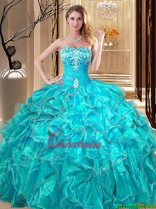 Organza Sleeveless Floor Length Quinceanera Dress and Embroidery and Ruffles