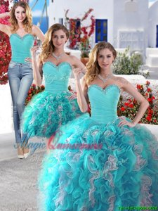 Charming Three Piece Sleeveless Organza Floor Length Lace Up Vestidos de Quinceanera in White and Baby Blue for with Beading