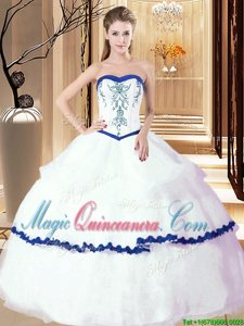 Sweetheart Sleeveless 15 Quinceanera Dress Floor Length Embroidery and Ruffled Layers White Organza