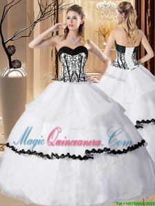 White Lace Up Sweetheart Embroidery and Ruffled Layers Quinceanera Dresses Organza Sleeveless
