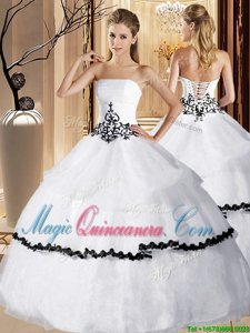 Glorious White Ball Gowns Appliques and Ruffled Layers Quinceanera Dresses Lace Up Organza Sleeveless Floor Length